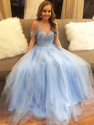 A-Line/Princess Off-the-Shoulder Tulle Floor-Length Sleeveless With Beading Dresses