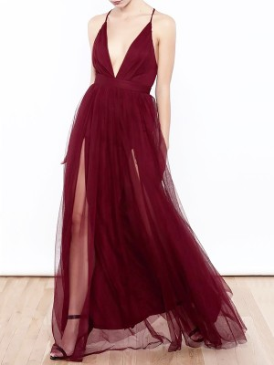 A-Line/Princess V-neck Tulle Floor-Length Sleeveless With Ruffles Dresses
