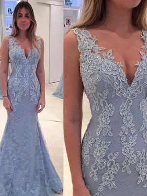 Trumpet/Mermaid V-neck Sleeveless Lace Sweep/Brush Train With Applique Dresses