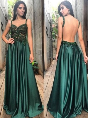 A-Line/Princess Straps Sleeveless Floor-Length Ruched With Applique Satin Dresses
