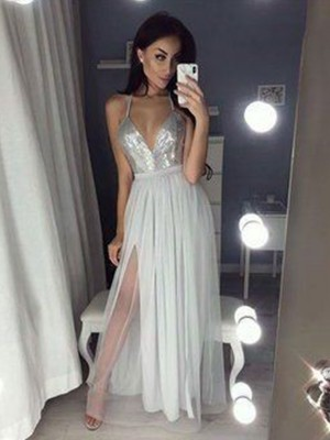 A-Line/Princess V-neck Straps Sleeveless Ruched Chiffon With Beading Floor-Length Dresses