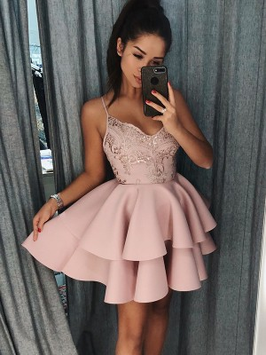 A-Line/Princess Spaghetti Straps Sleeveless Satin Short/Mini Dresses
