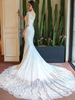 Trumpet/Mermaid 1/2 Sleeves Square Cathedral Train Applique Lace Wedding Dresses
