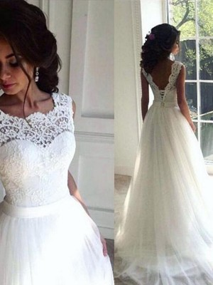 A-Line/Princess Bateau Sleeveless Sweep/Brush Train Lace Sash/Ribbon/Belt Tulle Wedding Dresses