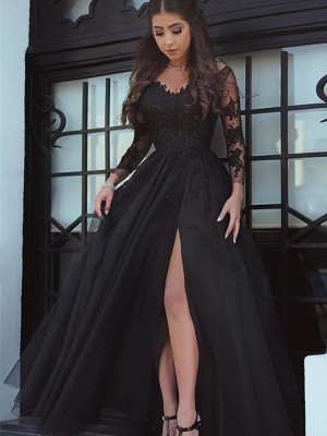 Ball Gown Off-the-Shoulder Long Sleeves Lace Floor-Length Applique Dresses