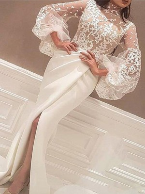 Trumpet/Mermaid High Neck Lace Long Sleeves Elastic Woven Satin Satin Dresses