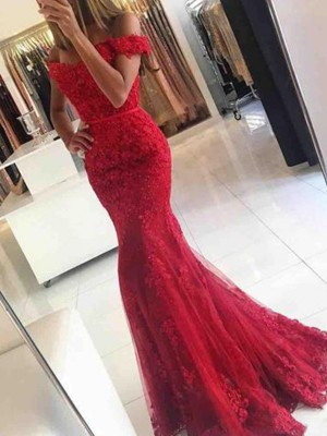 Trumpet/Mermaid Off-the-Shoulder Sleeveless Sweep/Brush Train Tulle Applique Dresses