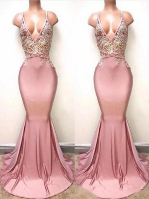 Trumpet/Mermaid V-neck Sleeveless Lace Sweep/Brush Train Satin Dresses