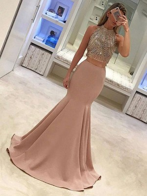 Trumpet/Mermaid High Neck Sleeveless Beading Sweep/Brush Train Satin Two Piece Dresses
