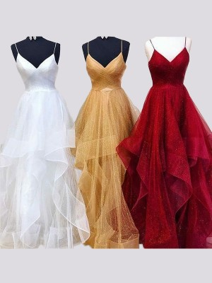 A-Line/Princess Spaghetti Straps Sleeveless Organza Floor-Length Ruffles Dresses