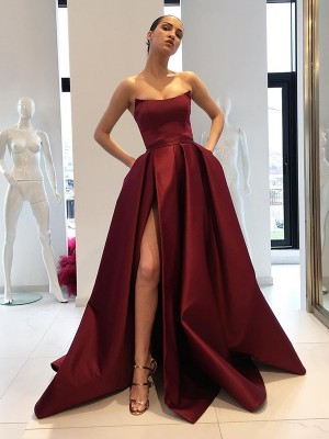 Ball Gown Strapless Sleeveless Ruffles Sweep/Brush Train Satin Dresses