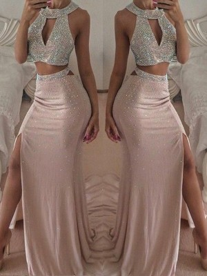 Trumpet/Mermaid Halter Sleeveless Floor-Length Beading Chiffon Two Piece Dresses