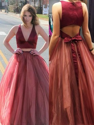 A-Line/Princess V-neck Sleeveless Ruffles Sweep/Brush Train Tulle Two piece Dresses