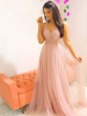 A-Line/Princess V-neck Sleeveless Crystal Sweep/Brush Train Tulle Dresses