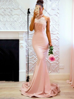 Trumpet/Mermaid Halter Sleeveless Sweep/Brush Train Lace Satin Dresses