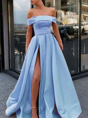 A-Line/Princess Off-the-Shoulder Sleeveless Sweep/Brush Train Ruffles Satin Dresses