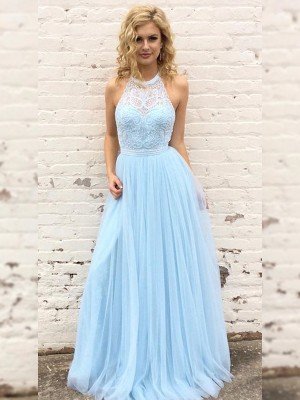 A-Line/Princess Halter Sleeveless Tulle Lace Floor-Length Dresses