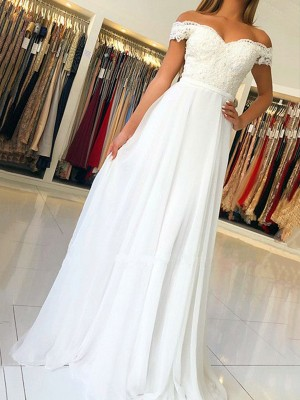 A-Line/Princess Off-the-Shoulder Sleeveless Floor-Length Applique Chiffon Dresses
