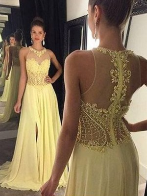 A-Line/Princess Sleeveless Sheer Neck Sweep/Brush Train Beading Chiffon Dresses