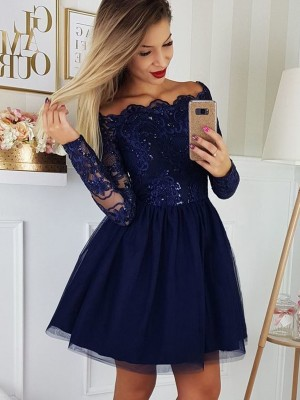 A-Line/Princess Tulle Applique Off-the-Shoulder Long Sleeves Short/Mini Homecoming Dress