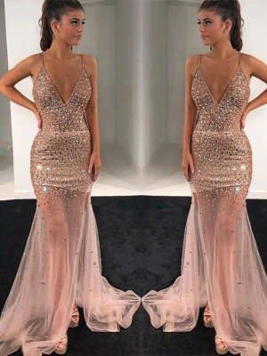 A-Line Tulle Paillette V-neck Sleeveless Long Formal Ball Dress