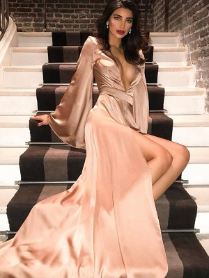 A-Line V-neck Long Sleeves Silk like Satin Ruched Long Formal Evening Dress