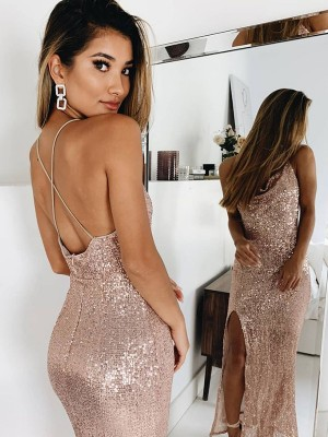 Mermaid/Trumpet Ruched Spaghetti Straps Sleeveless Sequins Ankle-Length Dresses