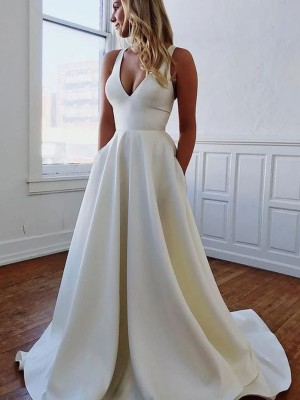 A-Line V-neck Satin Ruffles Sleeveless Sweep/Brush Train Wedding Dresses