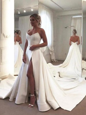 A-Line Sleeveless Ruffles Sweetheart Neckline Satin Court Train Wedding Dresses