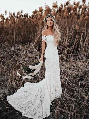 Mermaid/Trumpet Applique Off-the-Shoulder Short Sleeves Court Train Wedding Dresses with Lace