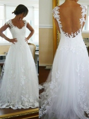 A-Line/Princess V-neck Lace Sleeveless Sweep/Brush Train Tulle Wedding Dresses