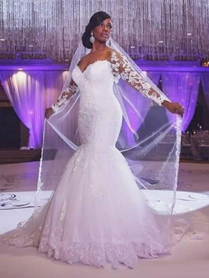Sweetheart Trumpet/Mermaid Long Sleeves Sweep/Brush Train Applique Tulle Wedding Dresses