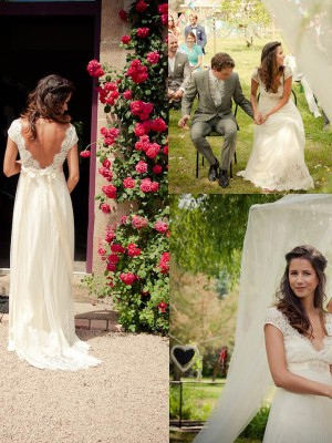 A-Line/Princess V-neck Sleeveless Sweep/Brush Train Beading Tulle Wedding Dresses