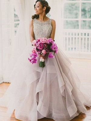 Ball Gown Sleeveless Scoop Sweep/Brush Train Beading Tulle Wedding Dresses