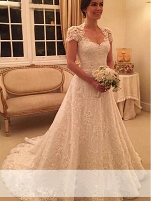 Sweetheart A-Line/Princess Court Train Short Sleeves Lace Wedding Dresses