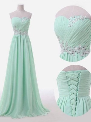 A-Line/Princess Sleeveless Sweetheart Floor-Length Chiffon Bridesmaid Dress With Beading