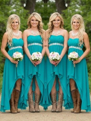 A-Line/Princess Sweetheart Sleeveless Asymmetrical Chiffon Bridesmaid Dress With Beading