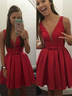 A-Line/Princess Sleeveless V-neck Bowknot Satin Short/Mini Dresses