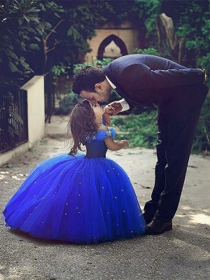 Ball Gown Sleeveless Off-the-Shoulder Crystal Floor-Length Tulle Flower Girl Dresses