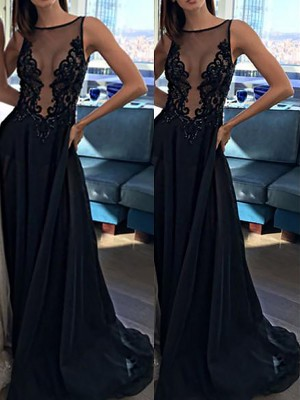 A-Line/Princess Sleeveless Chiffon Bateau Applique Sweep/Brush Train Dresses