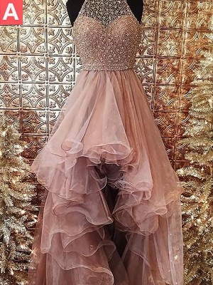 Ball Gown Halter Sleeveless Beading Tulle Sweep/Brush Train Dresses