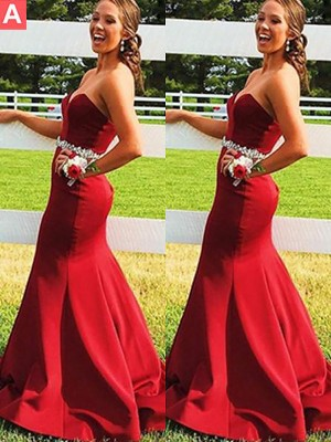 Trumpet/Mermaid Sweetheart Sleeveless Satin Beading Sweep/Brush Train Dresses