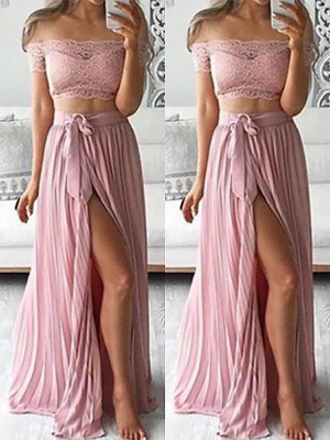 A-Line/Princess Off-the-Shoulder Sleeveless Floor-Length Chiffon Lace Two Piece Dresses
