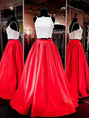 A-Line/Princess Floor-Length Spaghetti Straps Sleeveless Satin Lace Two Piece Dresses