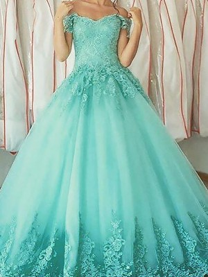 Ball Gown Off-the-Shoulder Sleeveless Applique Floor-Length Tulle Dresses