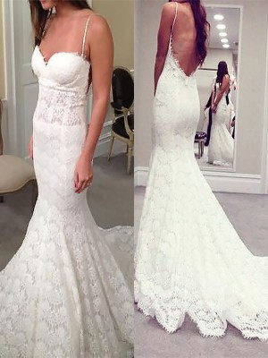 Trumpet/Mermaid Sleeveless Spaghetti Straps Court Train Lace Wedding Dresses