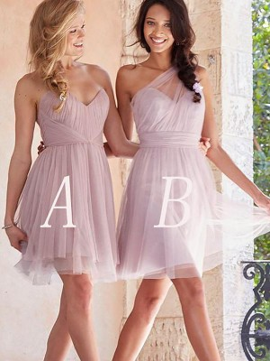 A-Line/Princess Tulle Sleeveless Short/Mini Bridesmaid Dresses