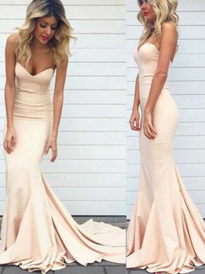 Sweetheart Trumpet/Mermaid Sleeveless Satin Sweep/Brush Train Dresses