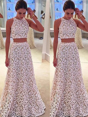 Lace A-Line/Princess Scoop Sleeveless Floor-Length Dresses