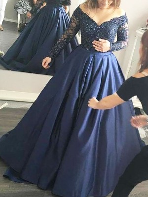 Ball Gown Long Sleeves Beading Off-the-Shoulder Sweep/Brush Train Satin Dresses